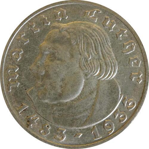 Vorderseite :Deutschland : 2 Reichsmark Luther  1933 vz.