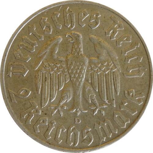 Rückseite:Deutschland : 2 Reichsmark Luther  1933 ss/vz.