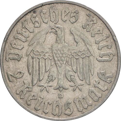 Rückseite :Deutschland : 2 Reichsmark Luther winz. Rs. 1933 ss/vz.