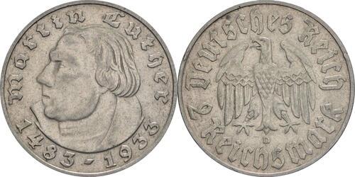 Lieferumfang :Deutschland : 2 Reichsmark Luther winz. Rs. 1933 ss/vz.