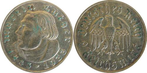 Lieferumfang :Deutschland : 2 Reichsmark Luther patina 1933 vz.