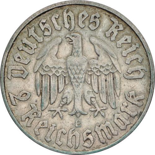 Rückseite:Deutschland : 2 Reichsmark Luther patina 1933 ss.