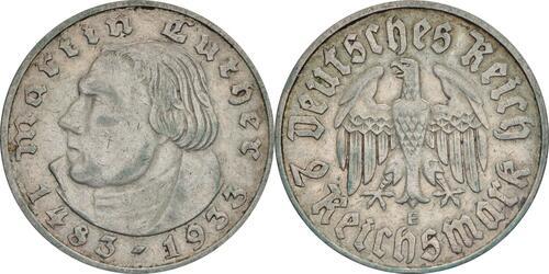 Lieferumfang:Deutschland : 2 Reichsmark Luther patina 1933 ss.