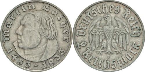Lieferumfang:Deutschland : 2 Reichsmark Luther  1933 ss/vz.