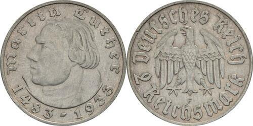 Lieferumfang:Deutschland : 2 Reichsmark Luther  1933 f.vz.