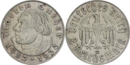 Lieferumfang :Deutschland : 2 Reichsmark Luther  1933 ss/vz.