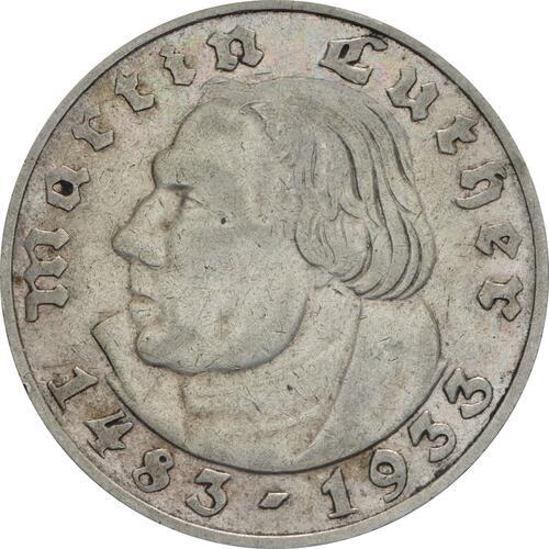 Vorderseite :Deutschland : 2 Reichsmark Luther  1933 ss/vz.