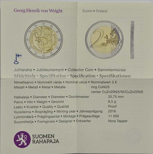Zertifikat :Finnland : 2 Euro Georg Henrik von Wright  2016 PP