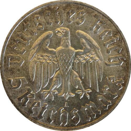 Rückseite:Deutschland : 5 Reichsmark Luther patina 1933 vz/Stgl.