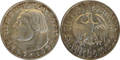 Lieferumfang:Deutschland : 5 Reichsmark Luther patina 1933 vz/Stgl.