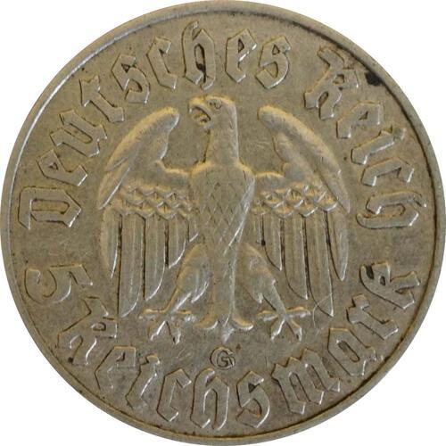 Rückseite:Deutschland : 5 Reichsmark Luther  1933 ss.