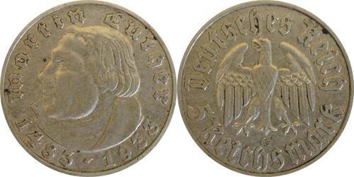 Lieferumfang :Deutschland : 5 Reichsmark Luther  1933 ss.