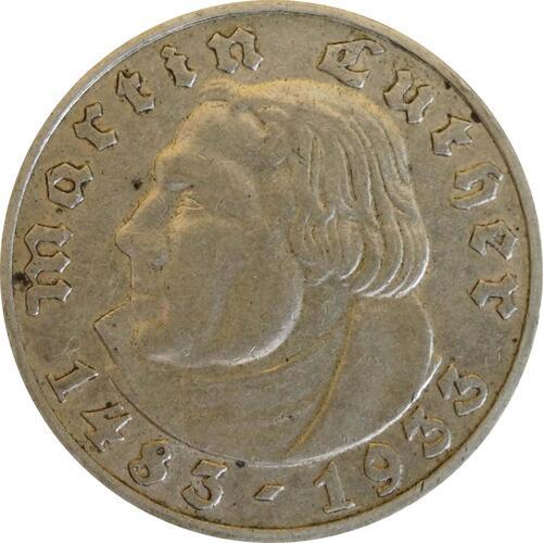 Vorderseite:Deutschland : 5 Reichsmark Luther  1933 ss.