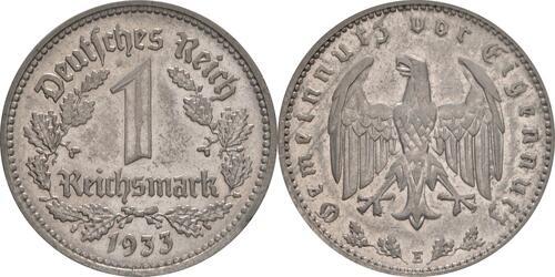 Lieferumfang:Deutschland : 1 Reichsmark Kursmünze  1933 vz/Stgl.