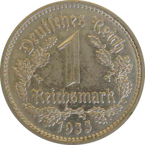 Vorderseite:Deutschland : 1 Reichsmark Kursmünze  1933 vz/Stgl.