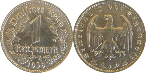 Lieferumfang:Deutschland : 1 Reichsmark Kursmünze  1939 vz/Stgl.