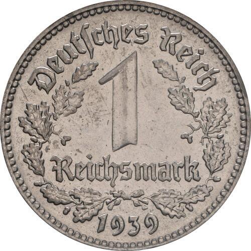 Vorderseite:Deutschland : 1 Reichsmark Kursmünze  1939 vz/Stgl.