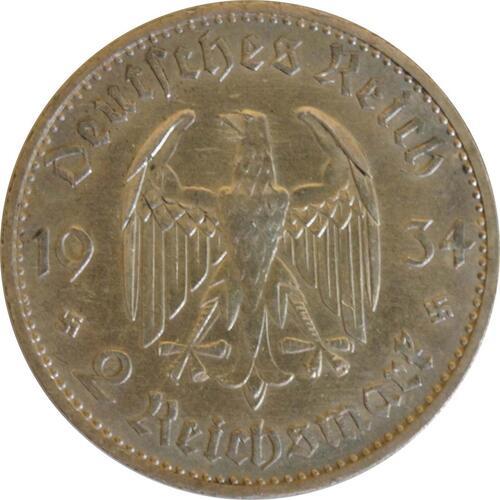 Rückseite:Deutschland : 2 Reichsmark Kirche mit Datum  1934 vz/Stgl.