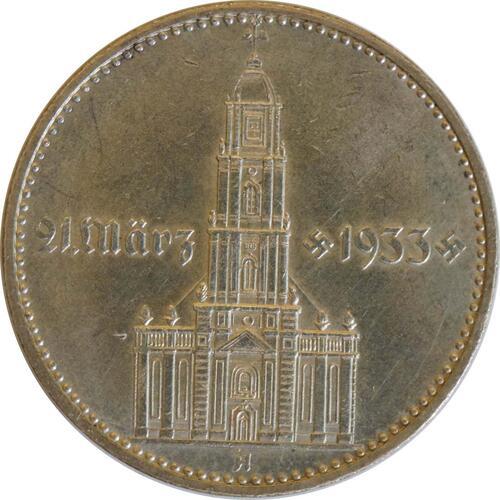 Vorderseite:Deutschland : 2 Reichsmark Kirche mit Datum  1934 vz/Stgl.