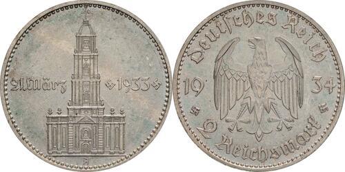 Lieferumfang:Deutschland : 2 Reichsmark Kirche mit Datum -seltene Erhaltung- 1934 vz/Stgl.