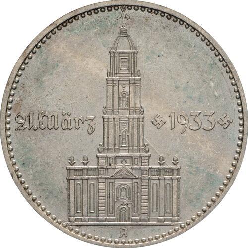 Vorderseite:Deutschland : 2 Reichsmark Kirche mit Datum -seltene Erhaltung- 1934 vz/Stgl.