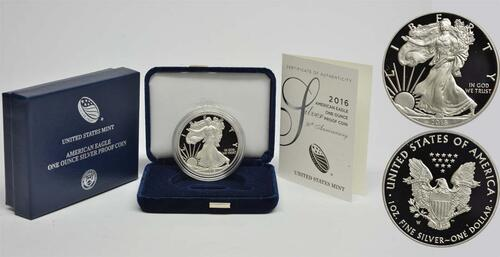 Lieferumfang:USA : 1 Dollar 30 Jahre Silber Eagle  2016 PP