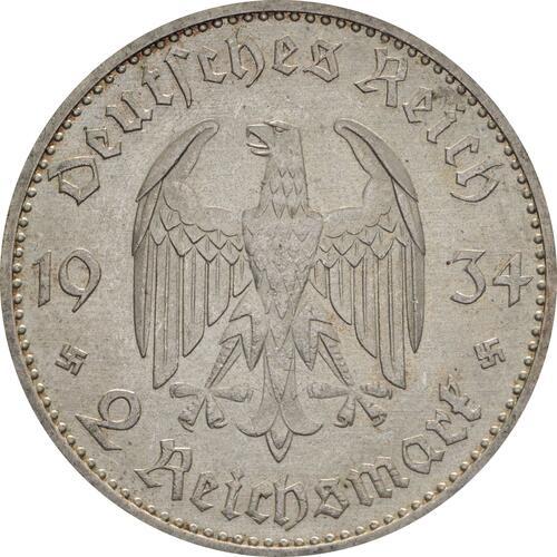 Rückseite:Deutschland : 2 Reichsmark Kirche mit Datum  1934 vz.