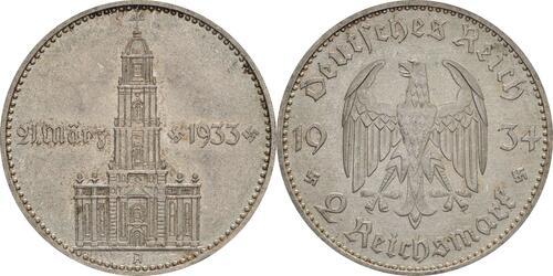 Lieferumfang:Deutschland : 2 Reichsmark Kirche mit Datum  1934 vz.