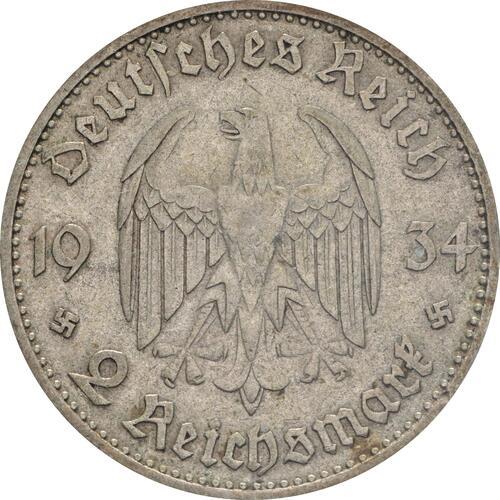 Rückseite:Deutschland : 2 Reichsmark Kirche mit Datum  1934 ss.