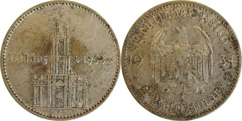 Lieferumfang:Deutschland : 2 Reichsmark Kirche mit Datum patina 1934 ss.
