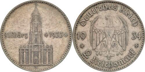 Lieferumfang :Deutschland : 2 Reichsmark Kirche mit Datum  1934 ss.