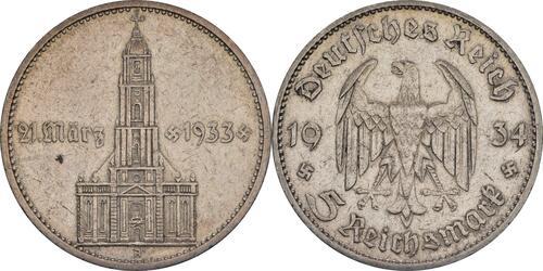 Lieferumfang :Deutschland : 5 Reichsmark Kirche mit Datum  1934 ss.