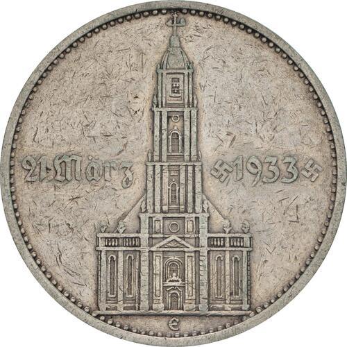 Vorderseite :Deutschland : 5 Reichsmark Kirche mit Datum  1934 ss.