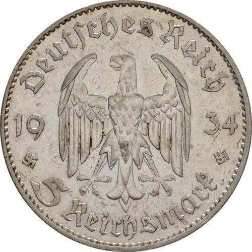 Rückseite :Deutschland : 5 Reichsmark Kirche mit Datum  1934 s/ss.