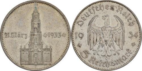 Lieferumfang :Deutschland : 5 Reichsmark Kirche mit Datum  1934 s/ss.