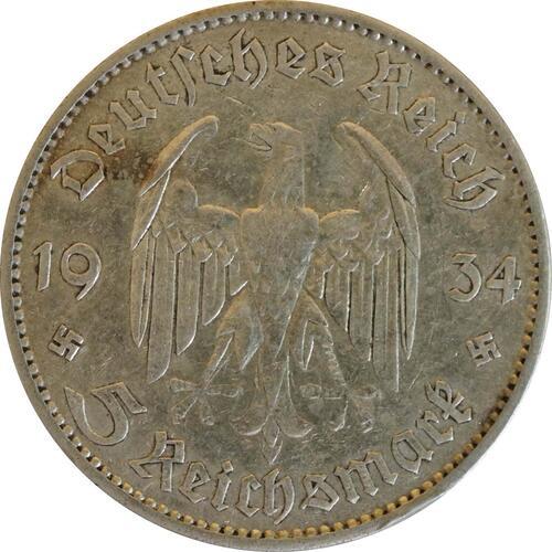 Rückseite :Deutschland : 5 Reichsmark Kirche mit Datum  1934 f.ss