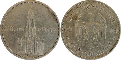 Lieferumfang :Deutschland : 5 Reichsmark Kirche mit Datum  1934 f.ss