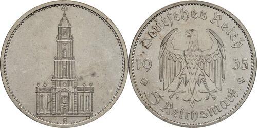 Lieferumfang:Deutschland : 5 Reichsmark Kirche ohne Datum  1935 vz/Stgl.