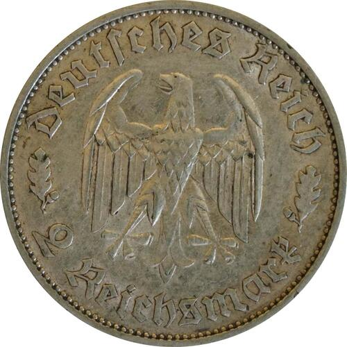 Rückseite:Deutschland : 2 Reichsmark Schiller  1934 ss.