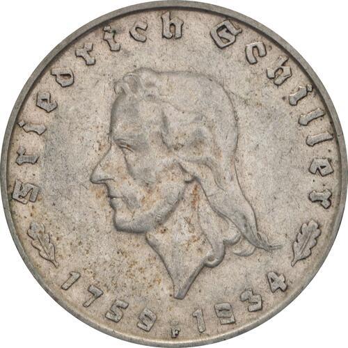 Vorderseite:Deutschland : 2 Reichsmark Schiller  1934 ss.