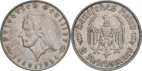 Lieferumfang :Deutschland : 2 Reichsmark Schiller  1934 ss.