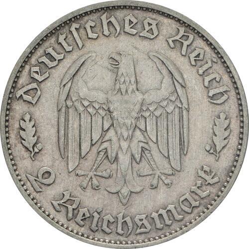 Rückseite:Deutschland : 2 Reichsmark Schiller   ss/vz.