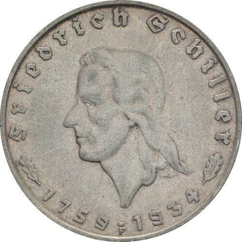 Vorderseite:Deutschland : 2 Reichsmark Schiller   ss/vz.