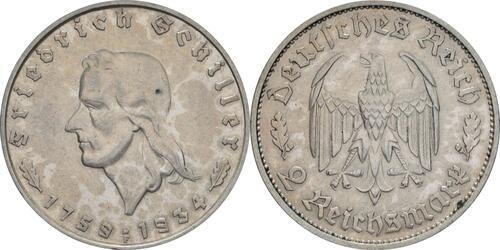 Lieferumfang:Deutschland : 2 Reichsmark Schiller  1934 ss/vz.