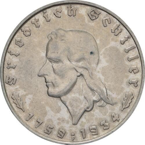 Vorderseite:Deutschland : 2 Reichsmark Schiller  1934 ss/vz.