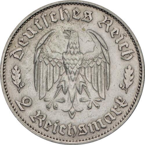 Rückseite :Deutschland : 2 Reichsmark Schiller  1934 ss/vz.