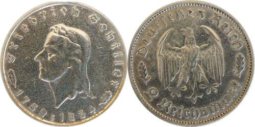 Lieferumfang :Deutschland : 2 Reichsmark Schiller  1934 ss/vz.