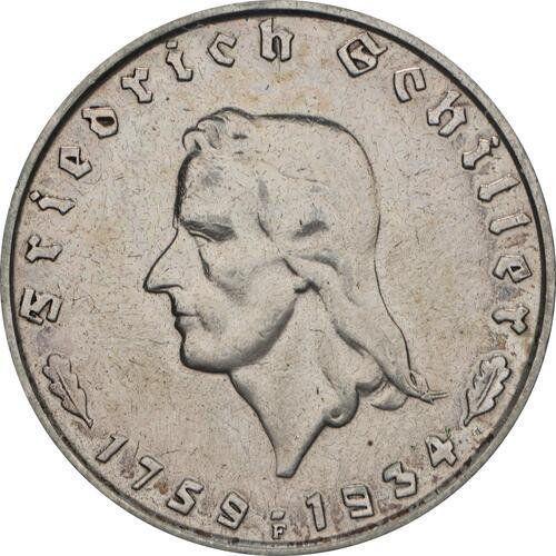 Vorderseite :Deutschland : 2 Reichsmark Schiller  1934 ss/vz.