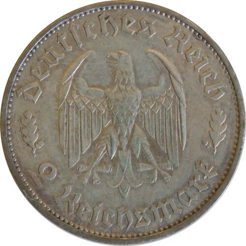 Rückseite:Deutschland : 2 Reichsmark Schiller patina 1934 ss/vz.