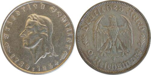 Lieferumfang:Deutschland : 2 Reichsmark Schiller patina 1934 ss/vz.